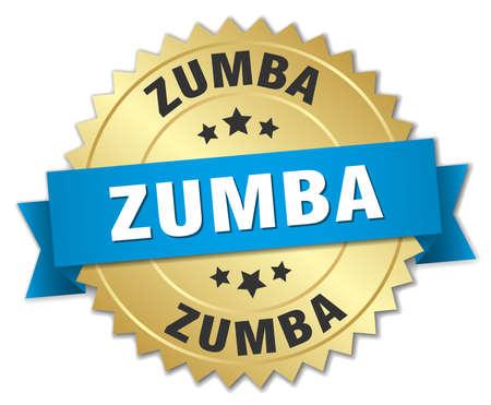 zumba: zumba insignia 3d de oro con la cinta azul