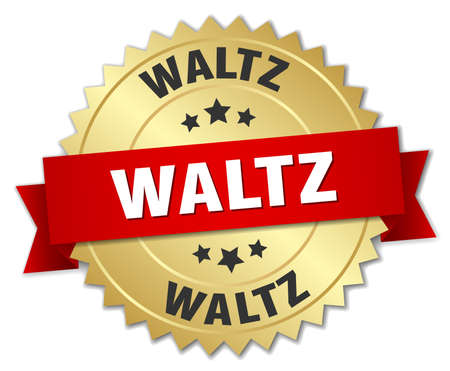 waltz: waltz 3d gold badge with red ribbon