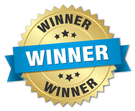 winner 3d gold badge with blue ribbon Stock Illustratie