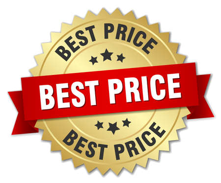 best price 3d gold badge with red ribbon Vettoriali
