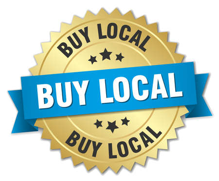 buy local: buy local 3d gold badge with blue ribbon Illustration