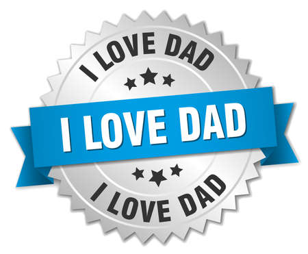 i love dad 3d silver badge with blue ribbon