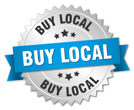buy local: buy local 3d silver badge with blue ribbon Illustration