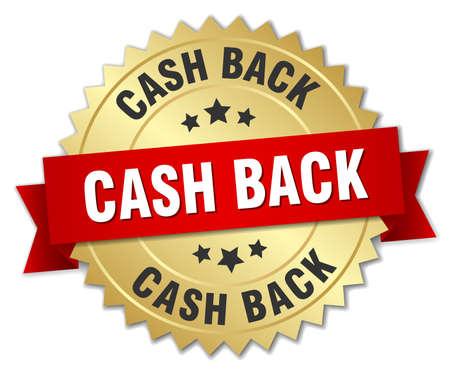 cash back: cash back 3d gold badge with red ribbon