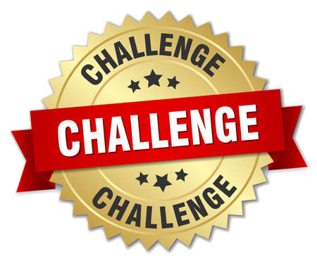 challenges: challenge 3d gold badge with red ribbon