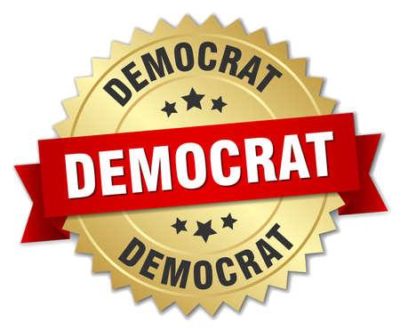 democrat: democrat 3d gold badge with red ribbon