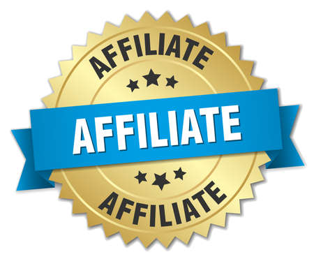 affiliate: affiliate 3d gold badge with blue ribbon Illustration
