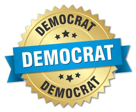 democrat: democrat 3d gold badge with blue ribbon Illustration