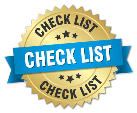 check list: check list 3d gold badge with blue ribbon Illustration