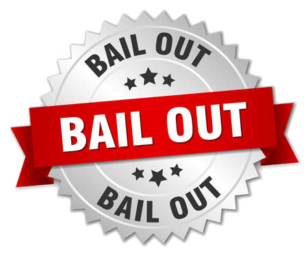bail: bail out 3d silver badge with red ribbon