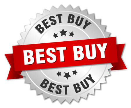 best buy: best buy 3d silver badge with red ribbon