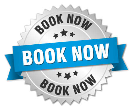 silvered: book now 3d silver badge with blue ribbon