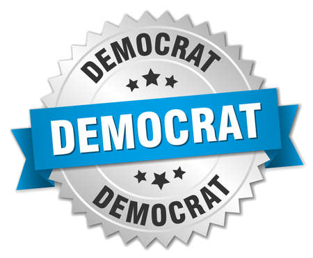 democrat: democrat 3d silver badge with blue ribbon