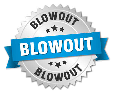 blowout: blowout 3d silver badge with blue ribbon