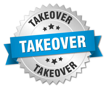 takeover: takeover 3d silver badge with blue ribbon