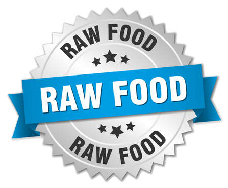 raw food: raw food 3d silver badge with blue ribbon