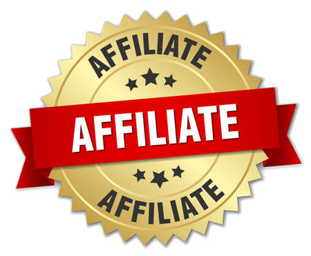 affiliate: affiliate 3d gold badge with red ribbon
