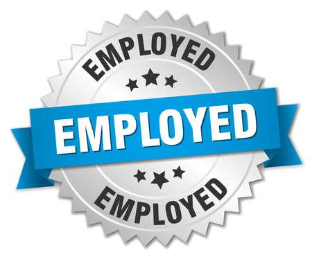 empleadas: insignia de plata 3d ocupada con la cinta azul