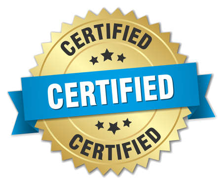 certify: certified 3d gold badge with blue ribbon