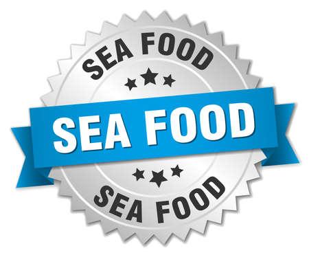 sea food: sea food 3d silver badge with blue ribbon