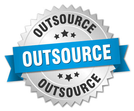 outsource: outsource 3d silver badge with blue ribbon Illustration