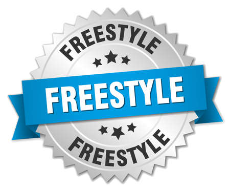 freestyle: freestyle 3d silver badge with blue ribbon
