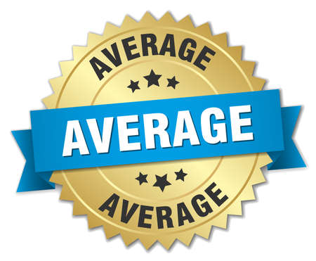 average: average 3d gold badge with blue ribbon Illustration