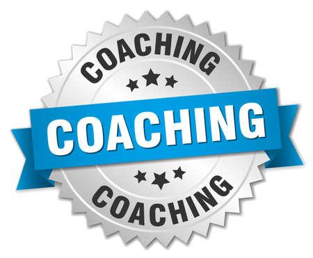 coaching: coaching 3d silver badge with blue ribbon