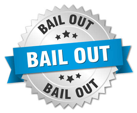 bail: bail out 3d silver badge with blue ribbon