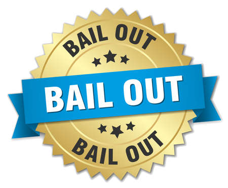 bail: bail out 3d gold badge with blue ribbon