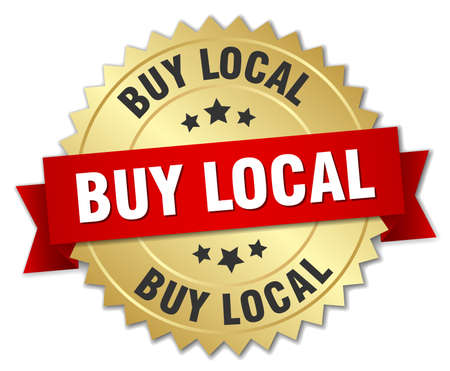 buy local: buy local 3d gold badge with red ribbon Illustration