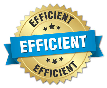 efficient: efficient 3d gold badge with blue ribbon