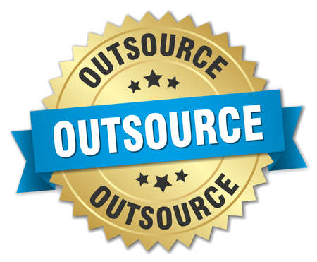 outsource: outsource 3d gold badge with blue ribbon