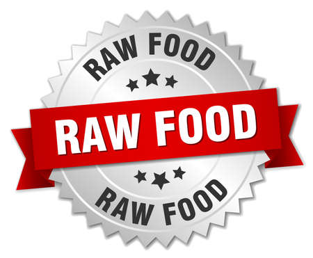 raw food: raw food 3d silver badge with red ribbon Illustration