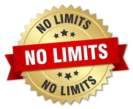 no limits: no limits 3d gold badge with red ribbon