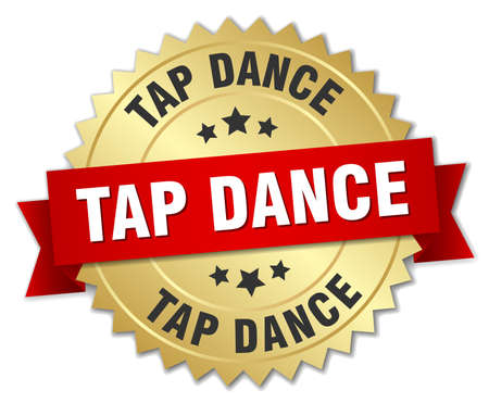 tap dance: tap dance 3d gold badge with red ribbon