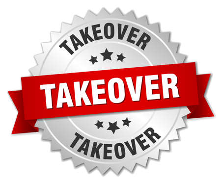 takeover: takeover 3d silver badge with red ribbon