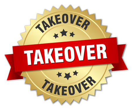 takeover: takeover 3d gold badge with red ribbon