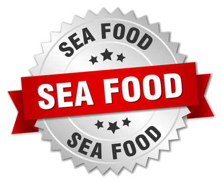 sea food: sea food 3d silver badge with red ribbon