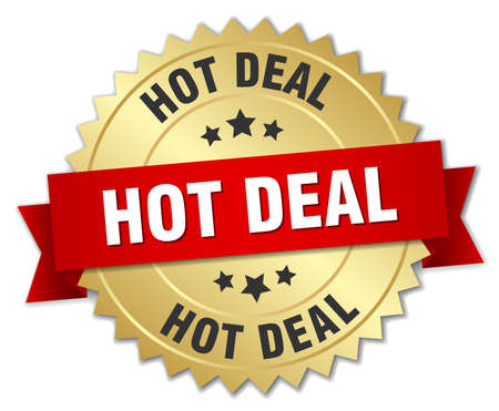hot deal: hot deal 3d gold badge with red ribbon Illustration
