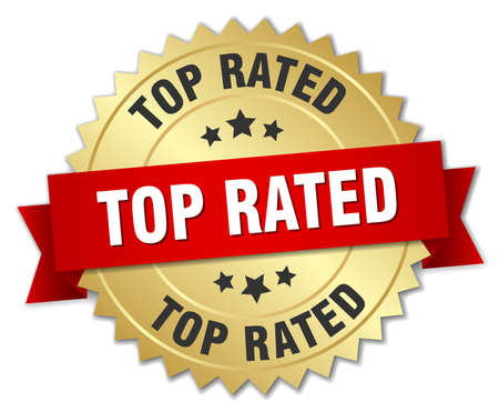 top rated: top rated 3d gold badge with red ribbon