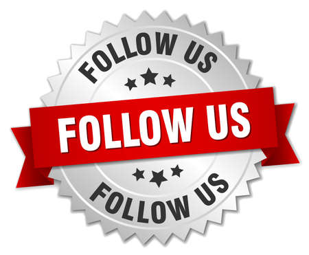 follow: follow us 3d silver badge with red ribbon
