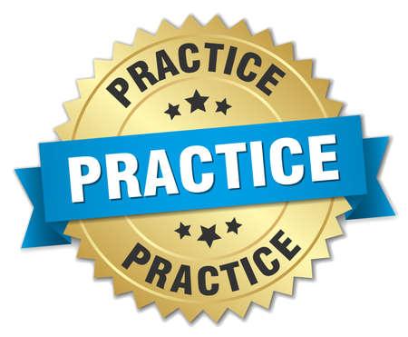 практика: practice 3d gold badge with blue ribbon Иллюстрация