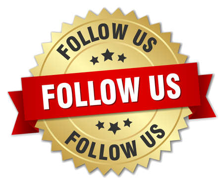 follow: follow us 3d gold badge with red ribbon Illustration