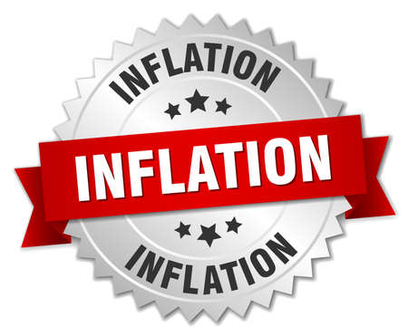 inflation: inflation 3d silver badge with red ribbon Illustration
