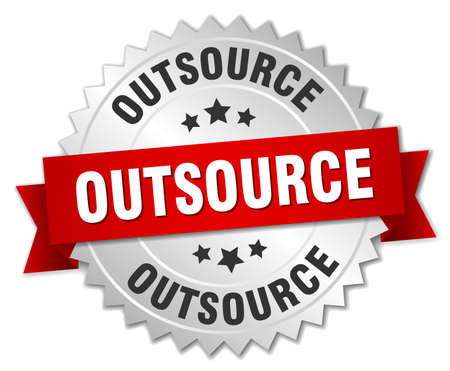 outsource: outsource 3d silver badge with red ribbon Illustration