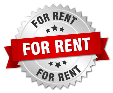 for rent: for rent 3d silver badge with red ribbon Illustration