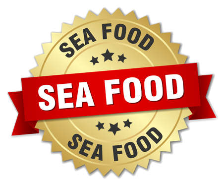 sea food: sea food 3d gold badge with red ribbon
