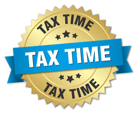 tax time: tax time 3d gold badge with blue ribbon