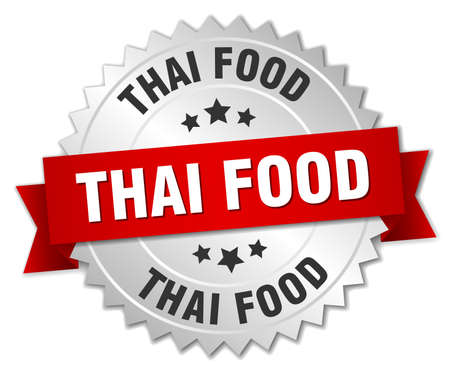 thai food: thai food 3d silver badge with red ribbon